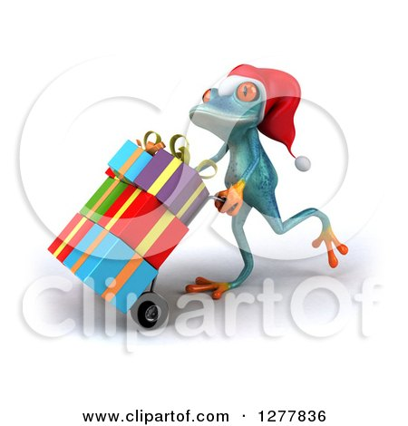 Clipart of a 3d Turquoise Christmas Frog Moving Gifts on a Dolly - Royalty Free Illustration by Julos