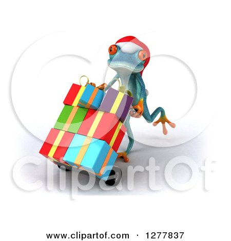 Clipart of a 3d Turquoise Christmas Frog Moving Gifts on a Dolly 2 - Royalty Free Illustration by Julos