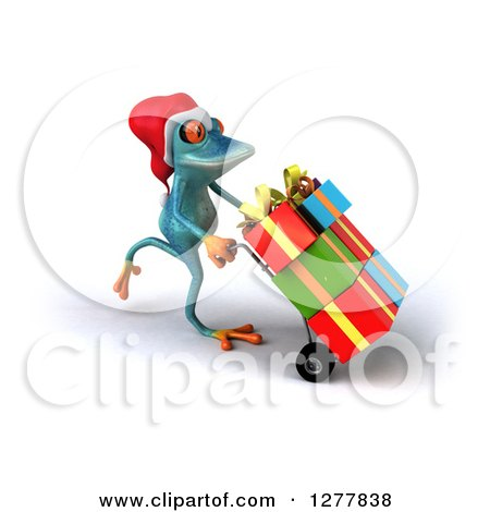 Clipart of a 3d Turquoise Christmas Frog Moving Gifts on a Dolly 3 - Royalty Free Illustration by Julos
