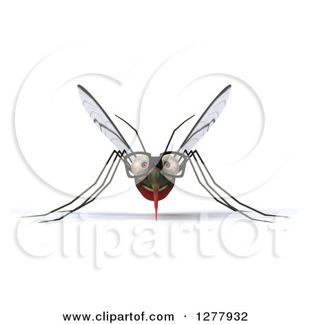 Clipart of a 3d Bespectacled Mosquito - Royalty Free Illustration by Julos