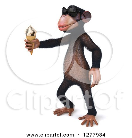 Clipart of a 3d Chimp Monkey Wearing Sunglasses, Facing Left and Holding out an Ice Cream Cone - Royalty Free Illustration by Julos