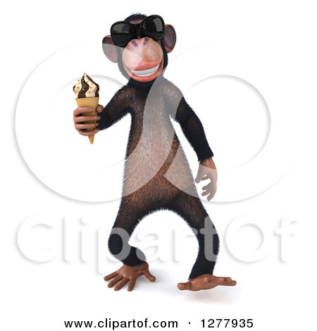 Clipart of a 3d Chimp Monkey Wearing Sunglasses and Walking with an Ice Cream Cone - Royalty Free Illustration by Julos