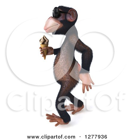 Clipart of a 3d Chimp Monkey Wearing Sunglasses and Walking to the Left with an Ice Cream Cone - Royalty Free Illustration by Julos