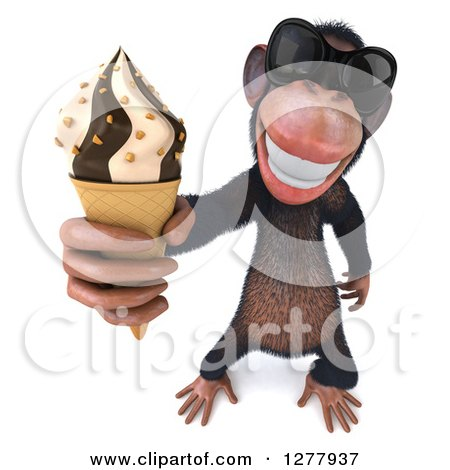 Clipart of a 3d Chimp Monkey Wearing Sunglasses and Holding up an Ice Cream Cone - Royalty Free Illustration by Julos