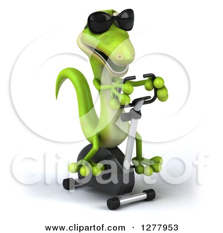 Clipart of a 3d Green Gecko Wearing Sunglasses and Exercising on a Spin Bike - Royalty Free Illustration by Julos
