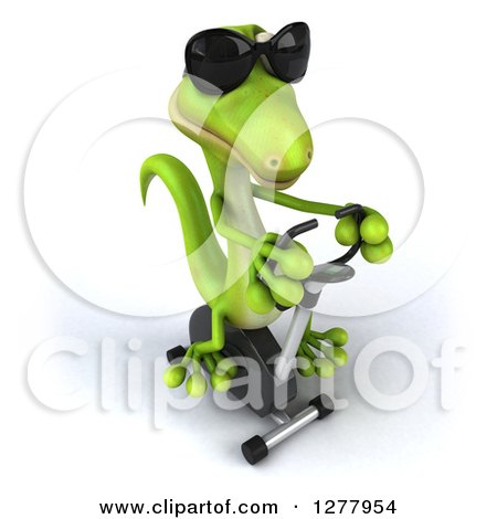 Clipart of a 3d Green Gecko Wearing Sunglasses and Exercising on a Spin Bike 2 - Royalty Free Illustration by Julos