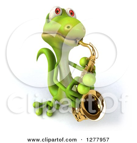 Clipart of a 3d Green Gecko Looking up and Playing a Saxophone - Royalty Free Illustration by Julos