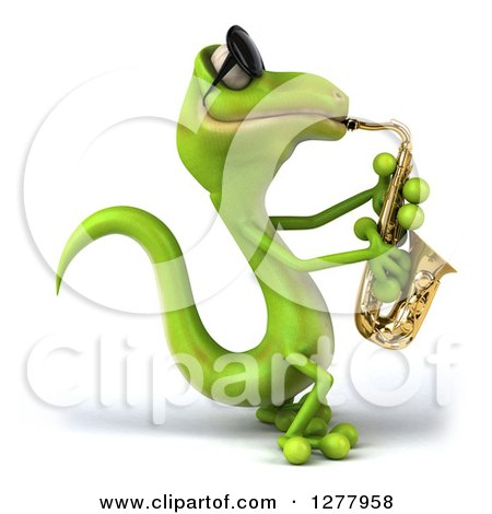 Clipart of a 3d Green Gecko Wearing Sunglasses, Facing Right and Playing a Saxophone - Royalty Free Illustration by Julos