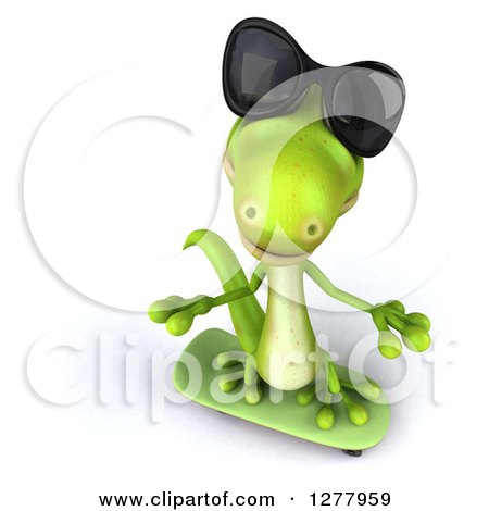 Clipart of a 3d Green Gecko Wearing Sunglasses, Looking up and Skateboarding - Royalty Free Illustration by Julos