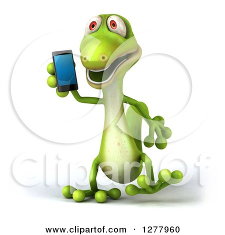 Clipart of a 3d Green Gecko Walking and Talking on a Smart Phone - Royalty Free Illustration by Julos