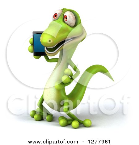 Clipart of a 3d Green Gecko Facing Left and Talking on a Smart Phone - Royalty Free Illustration by Julos