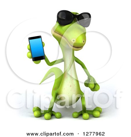 Clipart of a 3d Green Gecko Wearing Sunglasses and Holding a Smart Phone - Royalty Free Illustration by Julos