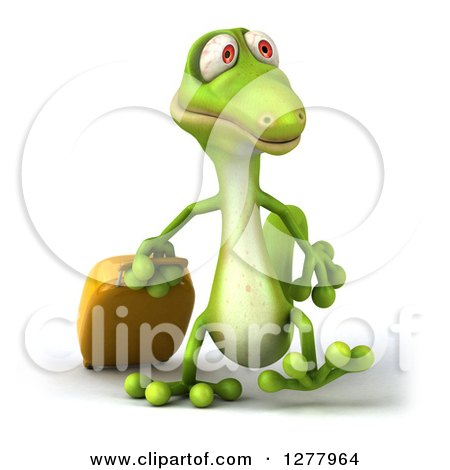 Clipart of a 3d Green Gecko Walking and Pulling Luggage - Royalty Free Illustration by Julos