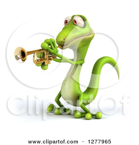Clipart of a 3d Green Gecko Facing Left and Playing a Trumpet - Royalty Free Illustration by Julos