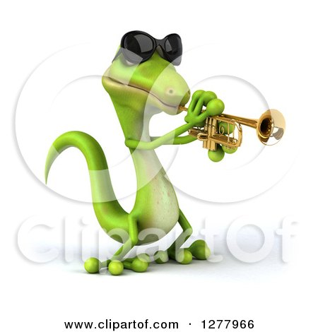 Clipart of a 3d Green Gecko Wearing Sunglasses, Facing Right and Playing a Trumpet - Royalty Free Illustration by Julos