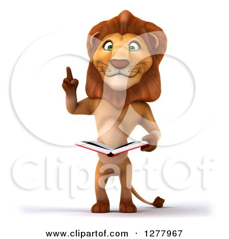 Clipart of a 3d Smart Male Lion Roaring and Reading a Book - Royalty Free Illustration by Julos