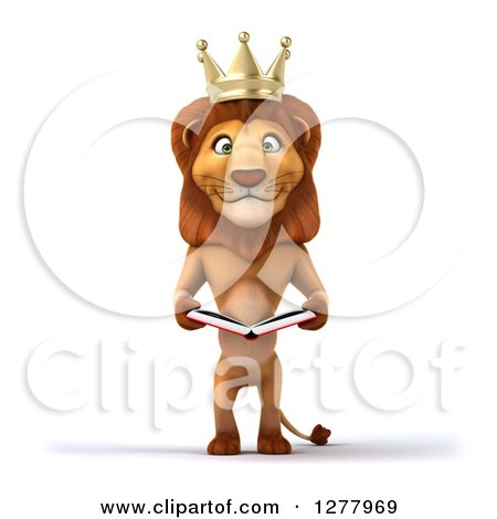 Clipart of a 3d Male Lion King Reading a Book - Royalty Free Illustration by Julos