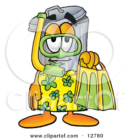 Clipart Picture of a Garbage Can Mascot Cartoon Character in Green and Yellow Snorkel Gear by Toons4Biz