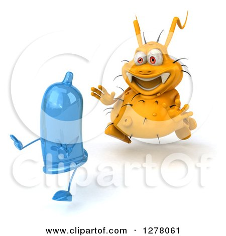 Clipart of a 3d Yellow Germ Virus Chasing a Blue Condom - Royalty Free Illustration by Julos