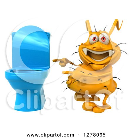 Clipart of a 3d Yellow Germ Virus Pointing to a Toilet - Royalty Free Illustration by Julos