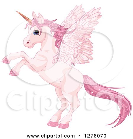 Clipart of a Rearing Pink Winged Fairy Unicorn Pegasus Horse with Sparkly Hair - Royalty Free Vector Illustration by Pushkin