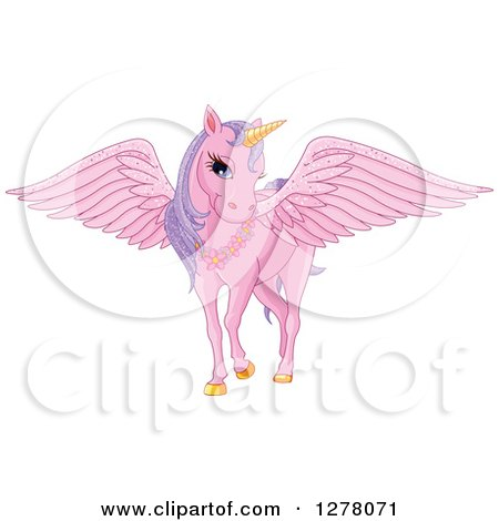 Clipart of a Pink Fairy Unicorn Pegasus Horse with Sparkly Wings - Royalty Free Vector Illustration by Pushkin