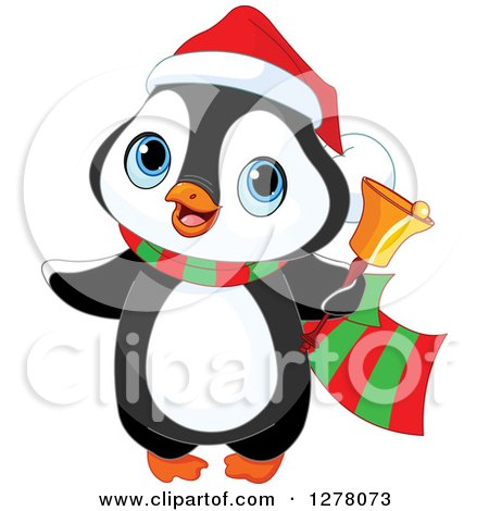Clipart of a Cute Christmas Penguin Ringing a Charity Bell - Royalty Free Vector Illustration by Pushkin