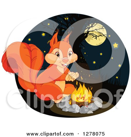 Clipart of a Cute Squirrel Warming up by a Campfire at Night - Royalty Free Vector Illustration by Pushkin