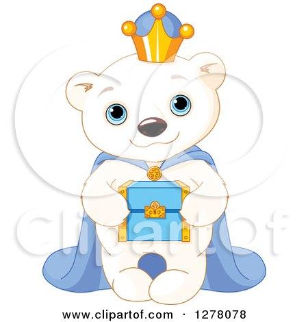 Clipart of a Cute Polar Bear King Holding a Box - Royalty Free Vector Illustration by Pushkin