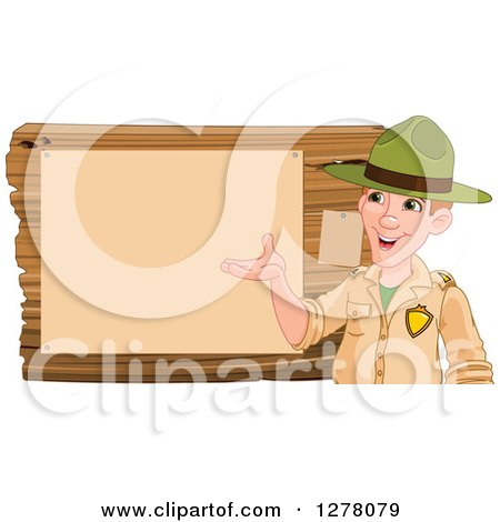 Clipart of a Friendly White Male Park Ranger Presenting Notices on a Board - Royalty Free Vector Illustration by Pushkin