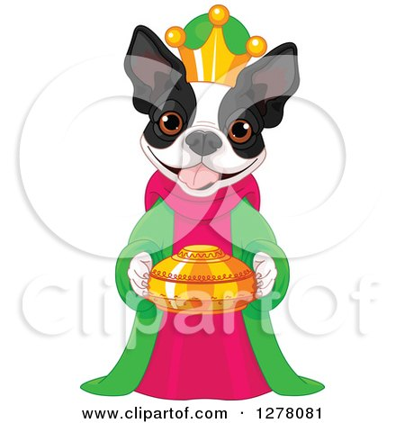 Cute Boston Terrier King Holding a Gold Urn Posters, Art Prints