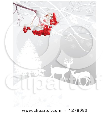 Clipart of a Christmas Winter Background of Red Berries over Silhouetted Deer in the Snow - Royalty Free Vector Illustration by Pushkin