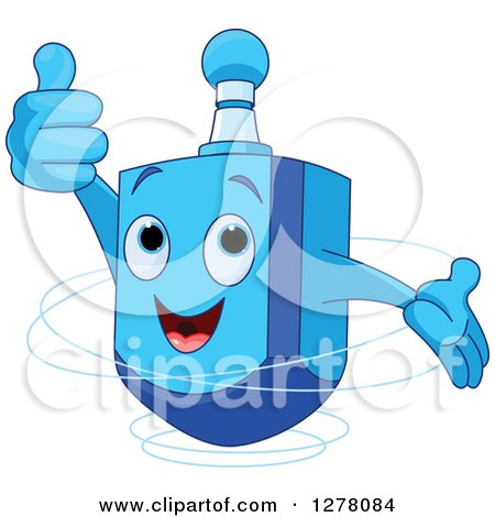 Clipart of a Happy Blue Dreidel Top Toy Holding a Thumb up and Spinning - Royalty Free Vector Illustration by Pushkin