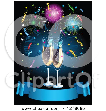 Clipart of New Year Champagne Flutes over Fireworks and Confetti with a Blank Blue Ribbon Banner - Royalty Free Vector Illustration by Pushkin