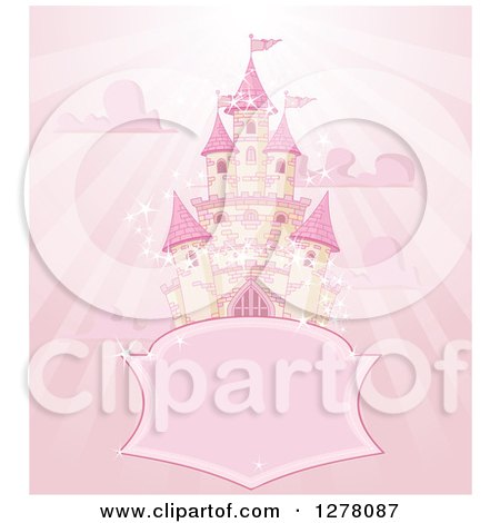 Clipart of a Pink Fairy Tale Castle in the Sky, with a Blank Shield Sign, Clouds and Rays - Royalty Free Vector Illustration by Pushkin