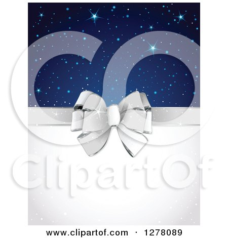 Clipart of a Silver Gift Bow and White Text Space with Stars and Sparkles - Royalty Free Vector Illustration by Pushkin