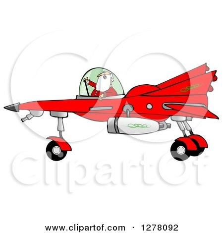 Clipart of Santa Claus Piloting a Christmas Star Fighter - Royalty Free Illustration by djart
