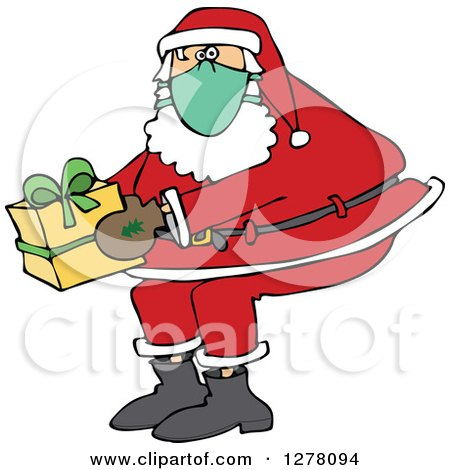 Clipart of Santa Claus Wearing a Mask and Holding a Christmas Gift - Royalty Free Vector Illustration by djart