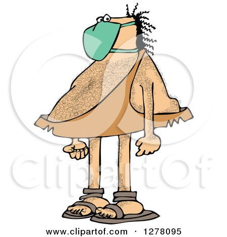 Clipart of a Hairy Caveman Wearing a Mask - Royalty Free Vector Illustration by djart