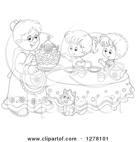 Clipart of a Black and White Granny Serving a Christmas Cake to Children and a Cat at a Tea Party - Royalty Free Vector Illustration by Alex Bannykh