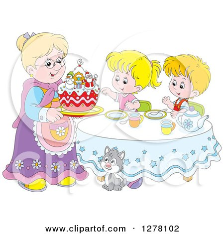 Clipart of a Happy Caucasian Granny Serving a Christmas Cake to Children and a Cat at a Tea Party - Royalty Free Vector Illustration by Alex Bannykh