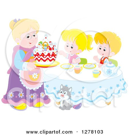 Clipart of a Happy Blond Caucasian Granny Serving a Christmas Cake to Children and a Cat at a Tea Party - Royalty Free Vector Illustration by Alex Bannykh