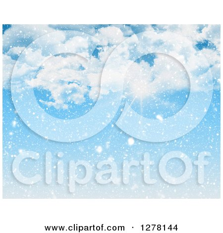 Clipart of the Sun Shining Nhrough Clouds on a Snowy Day - Royalty Free Illustration by KJ Pargeter