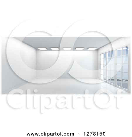 Clipart of a 3d Empty White Room Interior with Floor to Ceiling Windows and Skylights - Royalty Free Illustration by KJ Pargeter