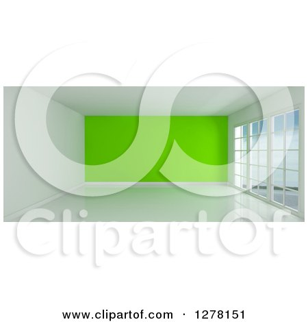 Clipart of a 3d Empty Room Interior with Floor to Ceiling Windows and a Lime Green Wall - Royalty Free Illustration by KJ Pargeter