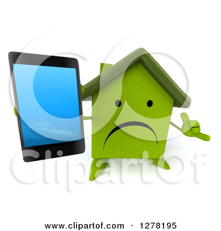 Clipart of a 3d Unhappy Green House Character Gesturing Call Me and Holding up a Smart Phone - Royalty Free Illustration by Julos
