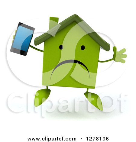 Clipart of a 3d Unhappy Green House Character Jumping and Holding up a Smart Phone - Royalty Free Illustration by Julos
