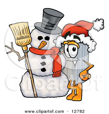 Clipart Picture of a Garbage Can Mascot Cartoon Character With a Snowman on Christmas by Toons4Biz