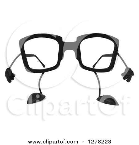 Clipart Of A 3d Pair Of Glasses Character Royalty Free Illustration