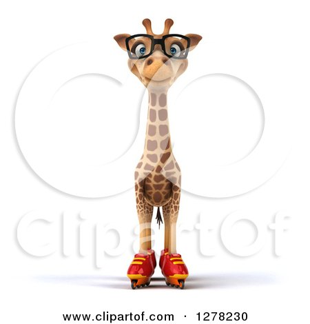 Clipart of a 3d Bespectacled Giraffe Standing in Roller Blades - Royalty Free Illustration by Julos